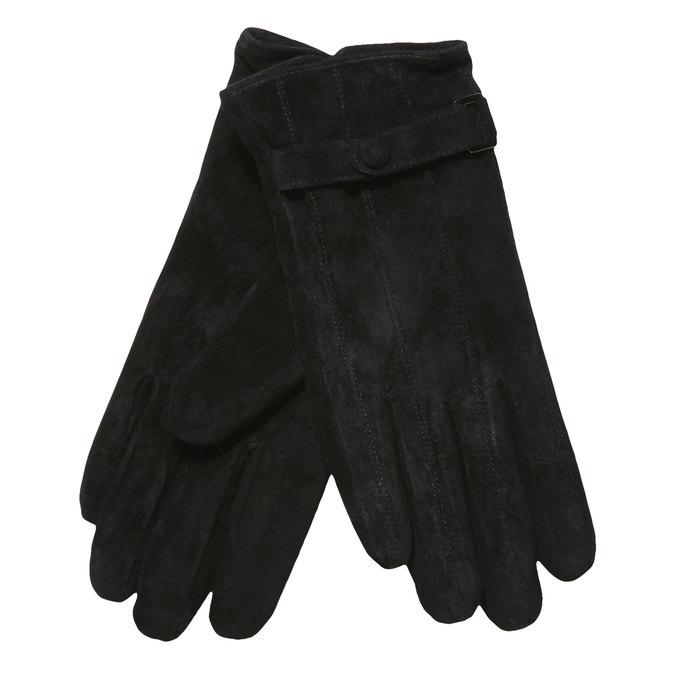 Kožené dámske rukavice s remienkom bata, čierna, 903-6100 - 13