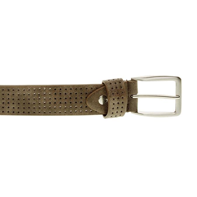 Pánský kožený opasok s perforáciou bata, hnedá, 954-4232 - 26