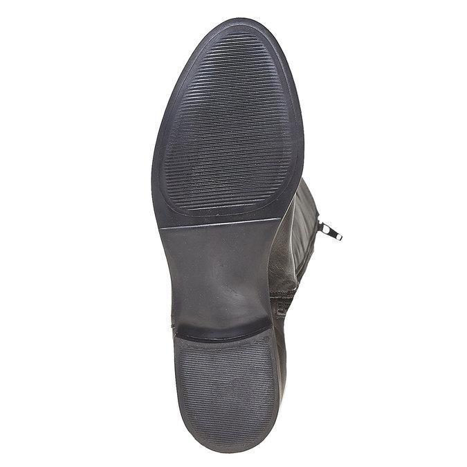 Kožené čižmy s prešitím bata, čierna, 594-6525 - 26