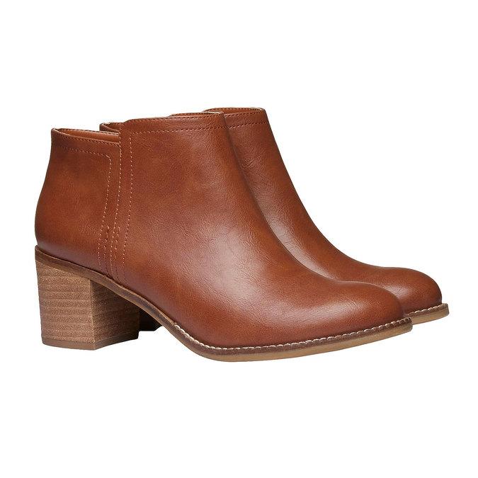Členkové čižmy na širokom podpätku bata, hnedá, 691-3271 - 26