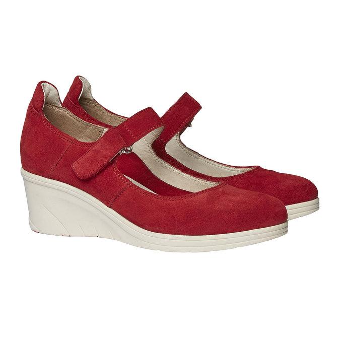 Kožené lodičky na klinovom podpätku bata-touch-me, červená, 623-5392 - 26