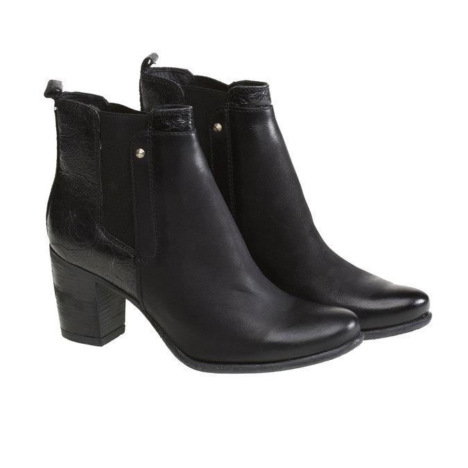 Kožené členkové čižmy bata, čierna, 694-6107 - 26