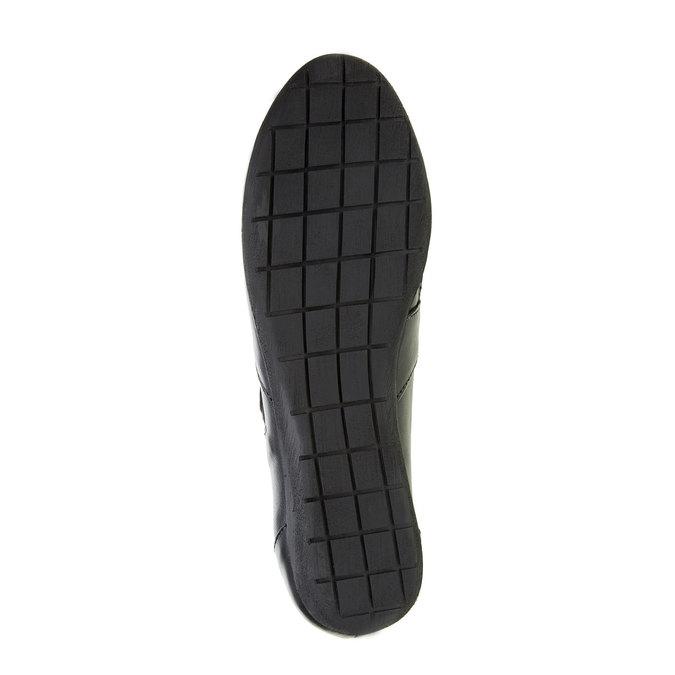 Kožené baleríny s remienkom cez priehlavok bata, čierna, 524-6497 - 26