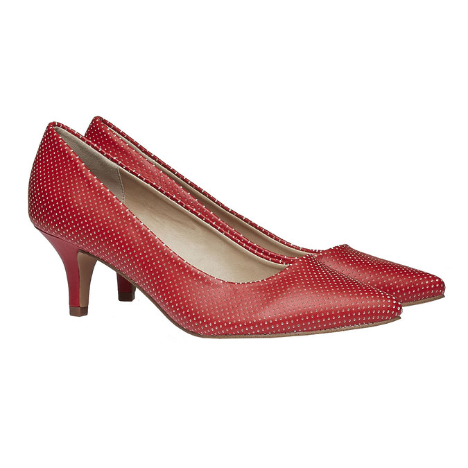 Červené lodičky s perforáciou, červená, 621-5384 - 26