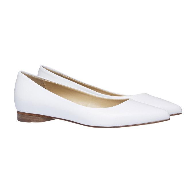 Biele kožené baleríny do špičky bata, biela, 524-1493 - 26