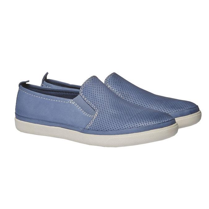 Kožené Plim Soll topánky s perforáciou bata, modrá, 514-9197 - 26
