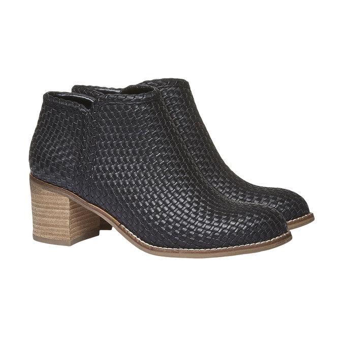 Členkové čižmy v pletenom designe bata, čierna, 691-6273 - 26