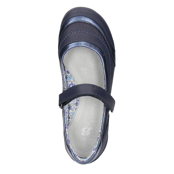 Dievčenské baleríny s remienkom cez priehlavok bata, modrá, 321-9310 - 19