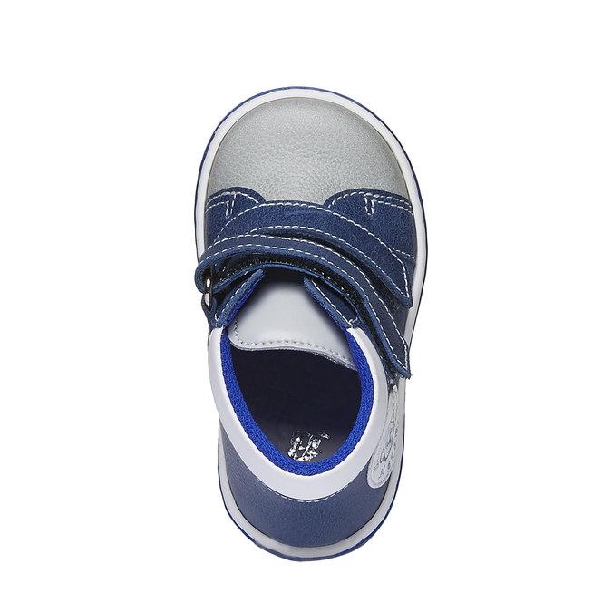 Detské kožené tenisky na suchý zips bubblegummer, modrá, 114-9147 - 19