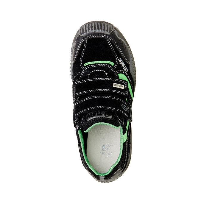 Detské kožené tenisky na suchý zips mini-b, čierna, 413-6130 - 19