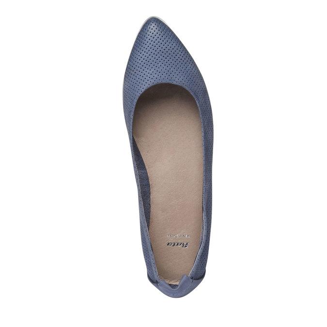 Kožené baleríny s perforáciou bata, modrá, 526-9486 - 19