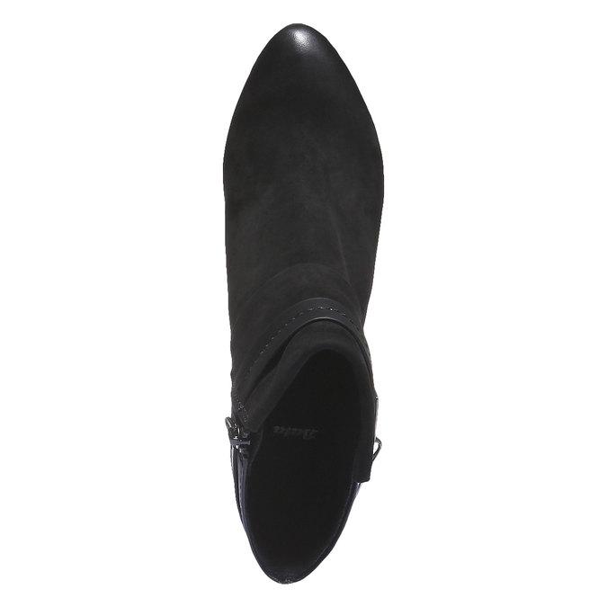 Kožená členková obuv na nízkom podpätku bata, čierna, 696-6105 - 19