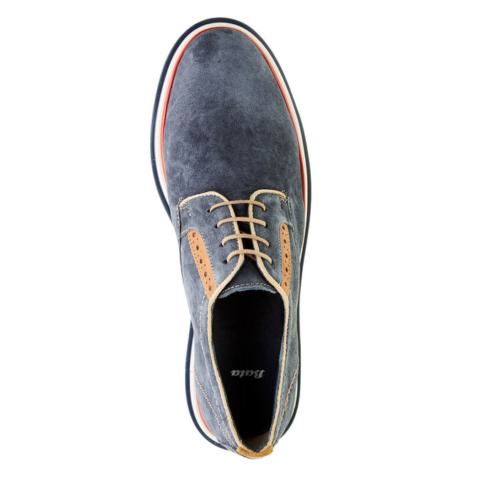 Pánske kožené poltopánky bata, modrá, 823-9814 - 19