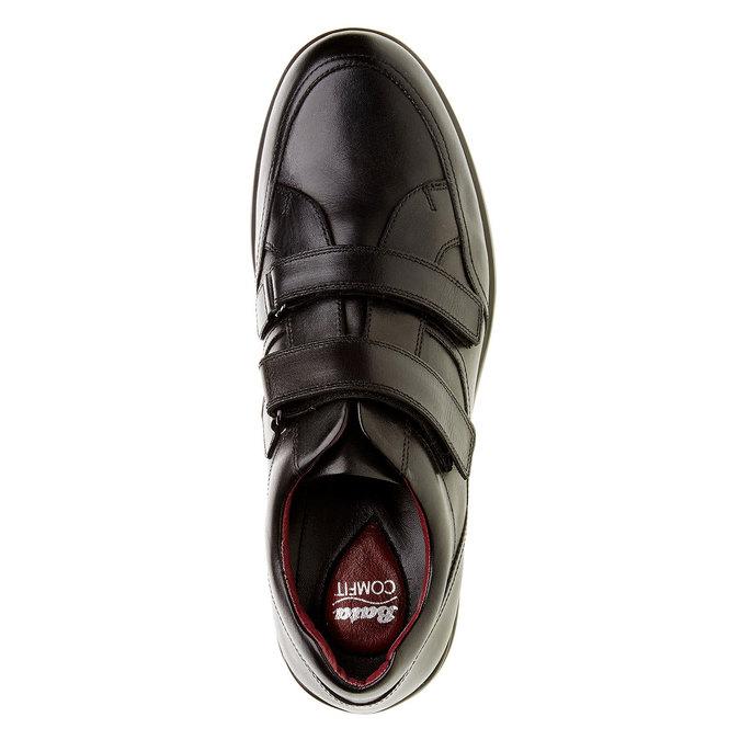 Ležérne kožené poltopánky na suchý zips comfit, čierna, 814-6768 - 19
