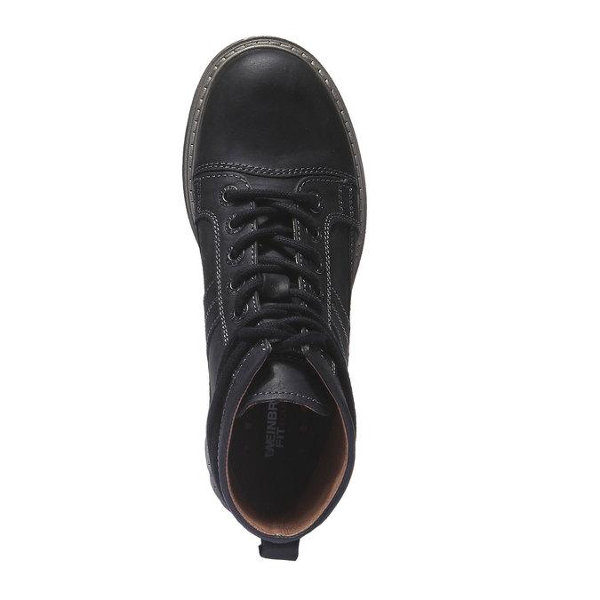 Kožená obuv s originálnymi šnúrkami weinbrenner, čierna, 594-6409 - 19