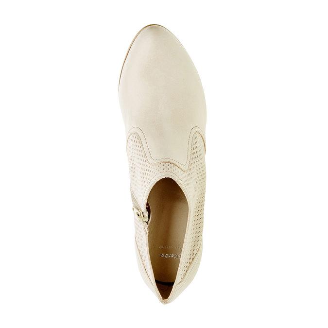 Kožené poltopánky na podpätku bata, biela, 724-8932 - 19