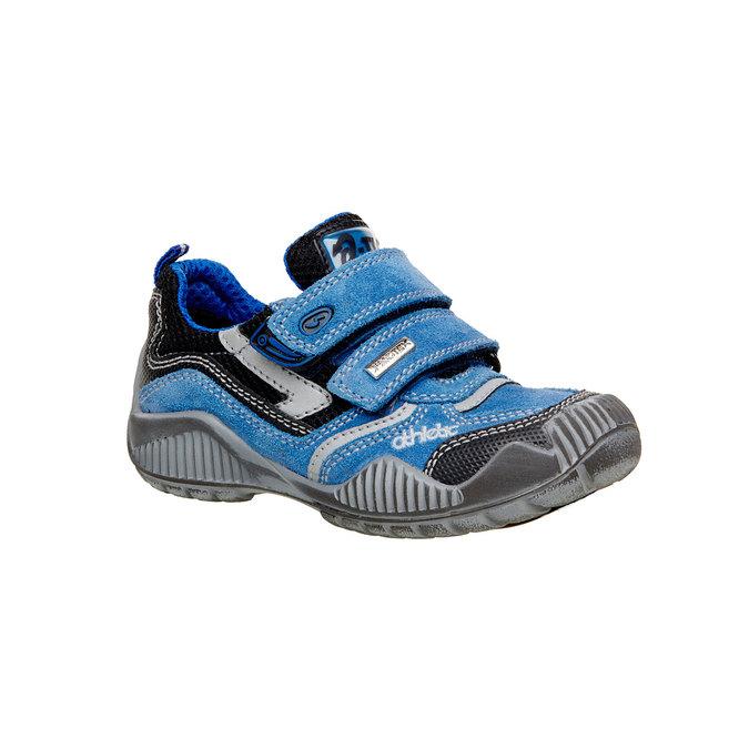 Detské kožené tenisky na suchý zips mini-b, modrá, 413-9130 - 13