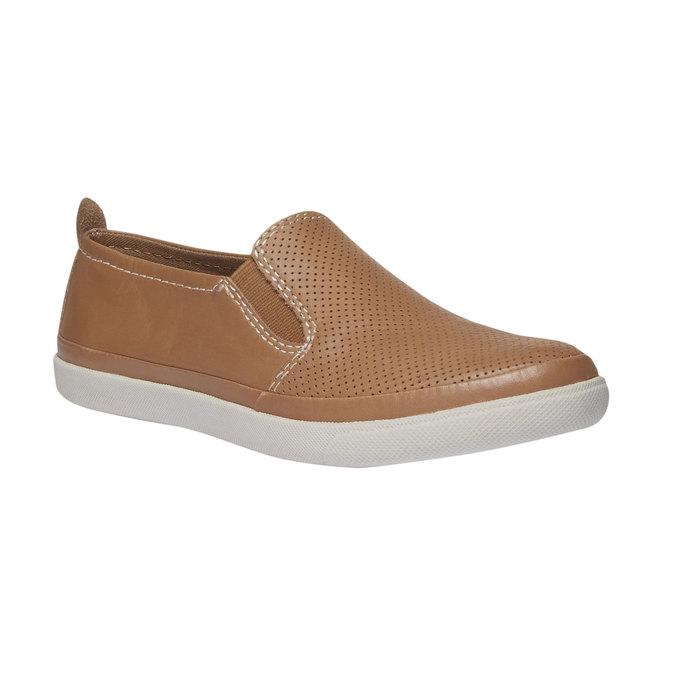 Kožené Plim Soll topánky s perforáciou bata, hnedá, 514-3197 - 13