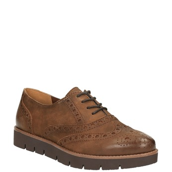 Dámske kožené poltopánky bata, hnedá, 526-4600 - 13