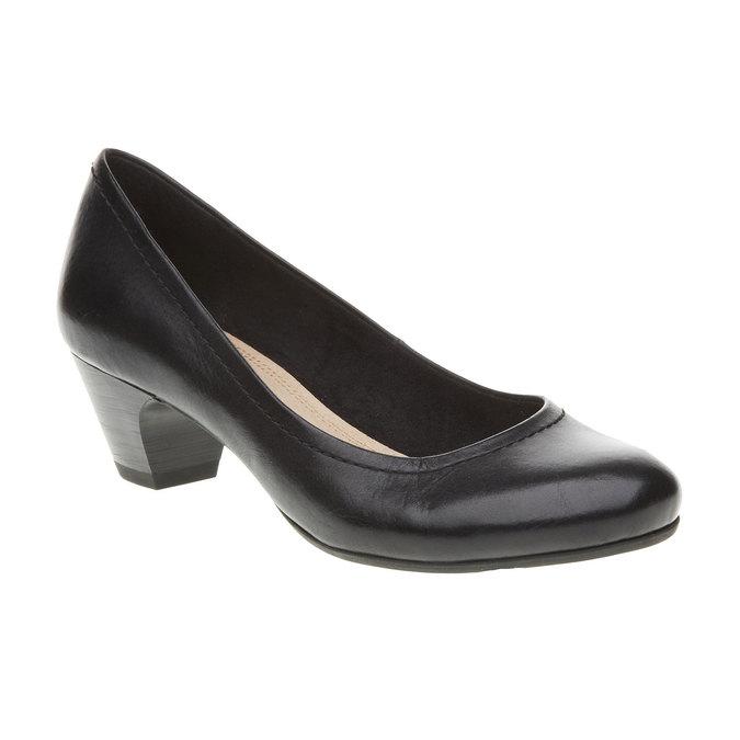 Čierne kožené lodičky bata, čierna, 624-6390 - 13