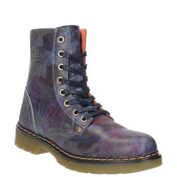 Kožená členková obuv s kvetinovým motívom bata, modrá, 596-9609 - 13