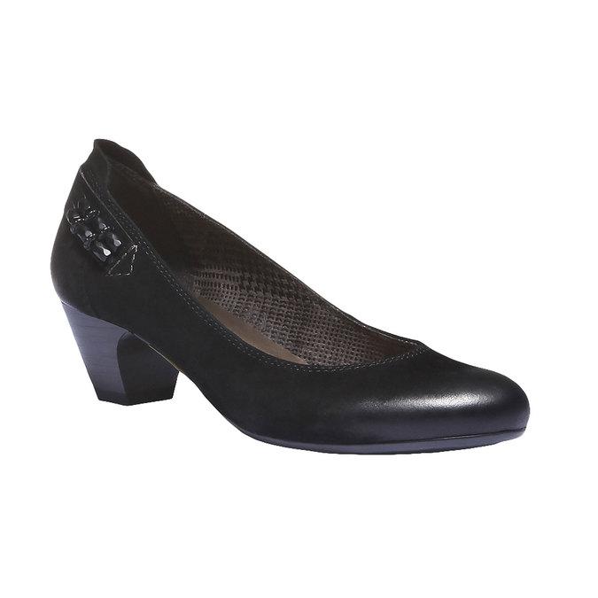 Kožené lodičky na nízkom podpätku bata, čierna, 626-6102 - 13