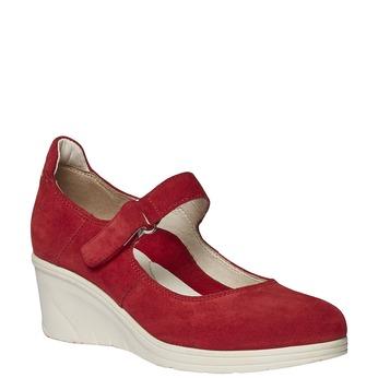 Kožené lodičky na klinovom podpätku bata-touch-me, červená, 623-5392 - 13