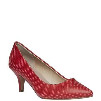 Červené lodičky s perforáciou, červená, 621-5384 - 13