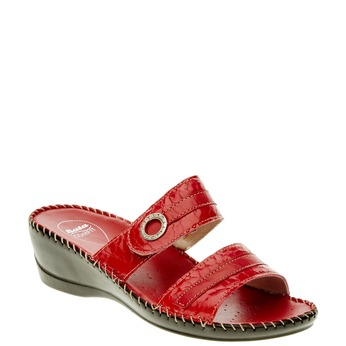 Dámske papuče na klinovom podpätku comfit, červená, 674-5249 - 13