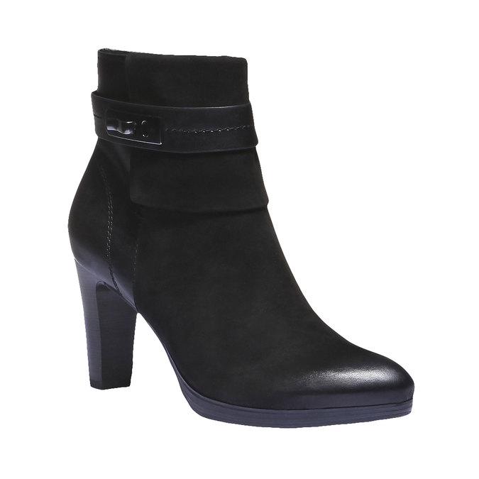 Kožená členková obuv na nízkom podpätku bata, čierna, 696-6105 - 13