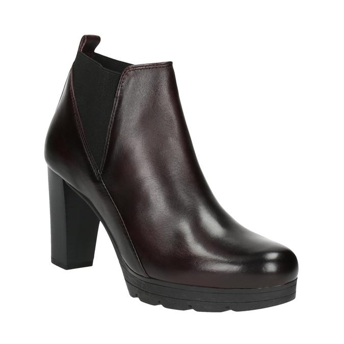 Kožená členková obuv na vysokom podpätku bata, 796-5605 - 13