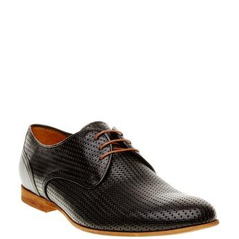Kožené poltopánky s pleteným vzorom conhpol, čierna, 826-6300 - 13