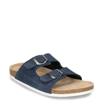 Kožená domáca obuv pánska de-fonseca, modrá, 873-9610 - 13
