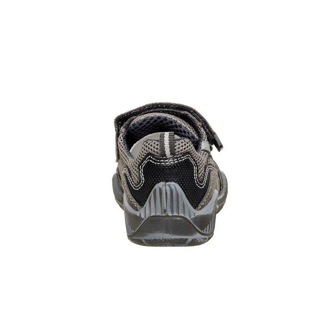 Detské kožené tenisky na suchý zips mini-b, šedá, 213-2130 - 17