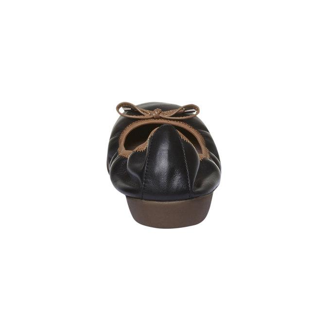 Čierne kožené baleríny bata, čierna, 524-6485 - 17