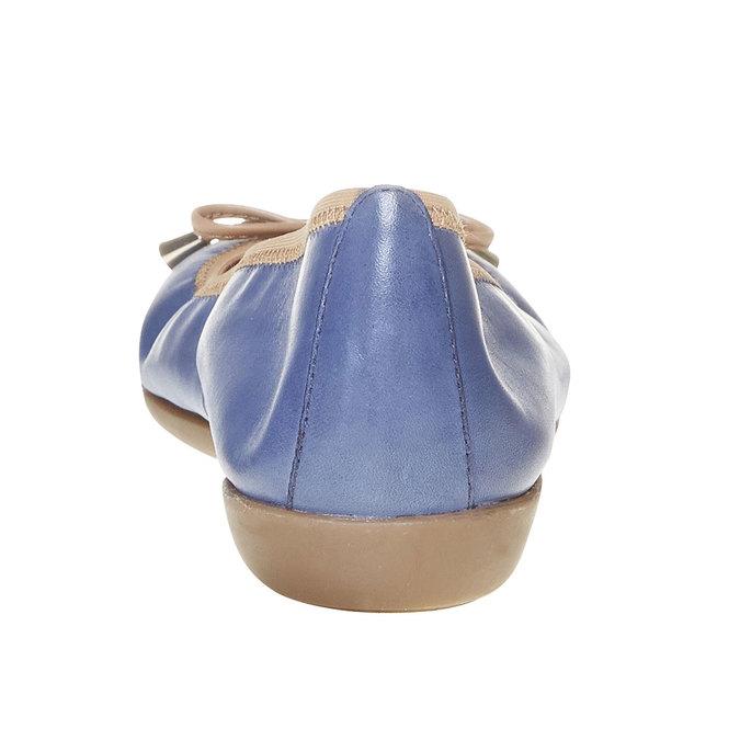 Dámske kožené baleríny bata, modrá, 524-9485 - 17
