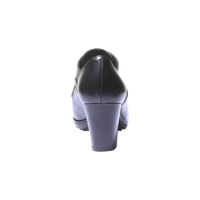 Dámské kožené poltopánky na podpätku bata, čierna, 724-6792 - 17
