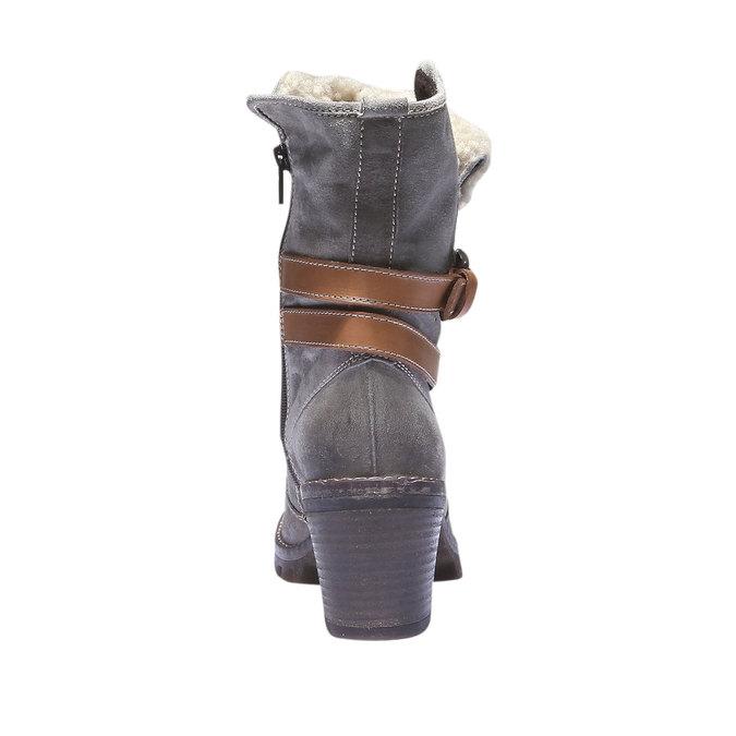 Kožené čižmy s remienkom bata, šedá, 693-2143 - 17