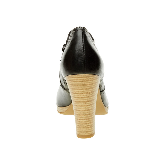 Kožené poltopánky na podpätku bata, čierna, 724-6932 - 17