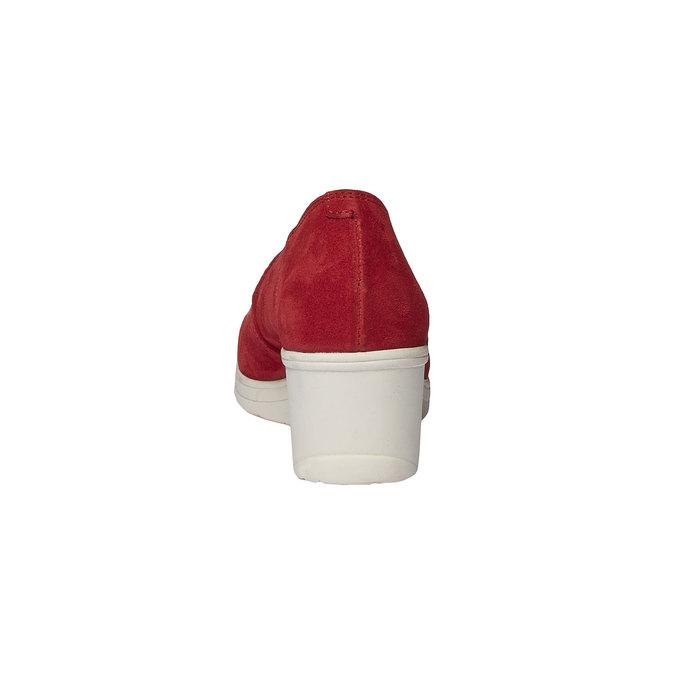 Kožené lodičky na klinovom podpätku bata-touch-me, červená, 613-5110 - 17