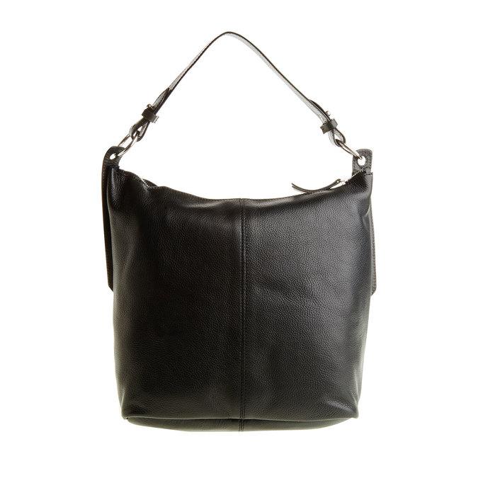 Kožená kabelka v Hobo štýle bata, čierna, 964-6176 - 26