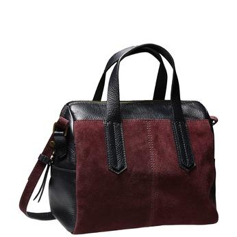 Semišová kabelka v štýle Bowling bata, červená, 963-5111 - 13