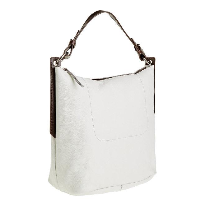 Kožená kabelka v Hobo štýle bata, biela, 964-1176 - 13