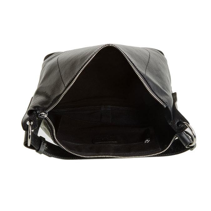 Kožená kabelka v Hobo štýle bata, čierna, 964-6176 - 15