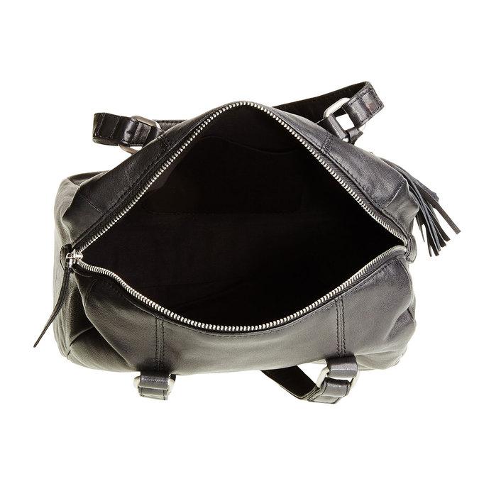 Kožená kabelka so strapcom bata, čierna, 964-6190 - 15