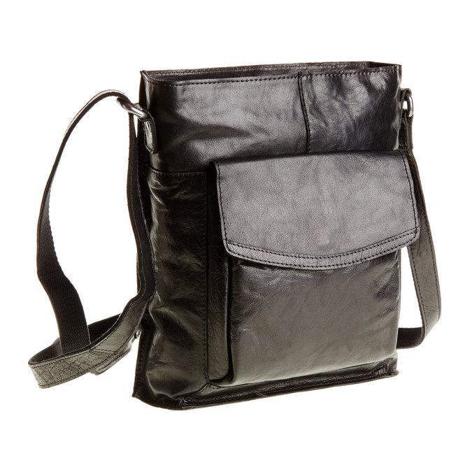Pánska kožená  Crossbody taška bata, čierna, 964-6141 - 13