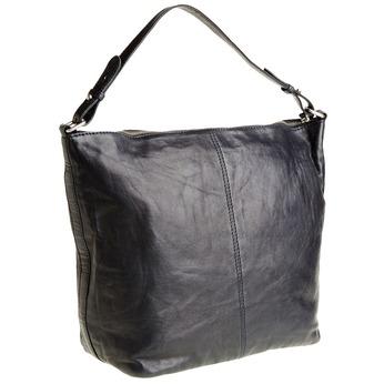 Kožená kabelka v Hobo štýle bata, modrá, 964-9192 - 13