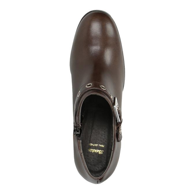 Kožené poltopánky na širokom podpätku bata, hnedá, 794-4636 - 19