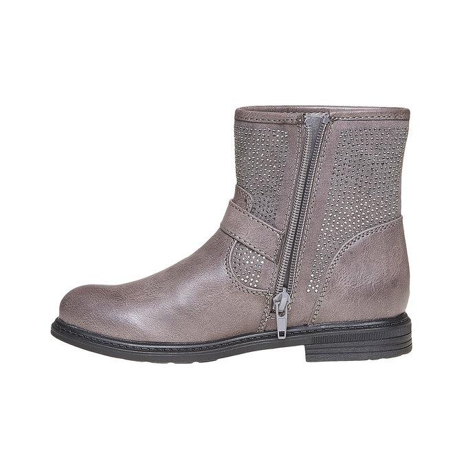 Detská členková obuv s kamienkami mini-b, šedá, 391-2249 - 19