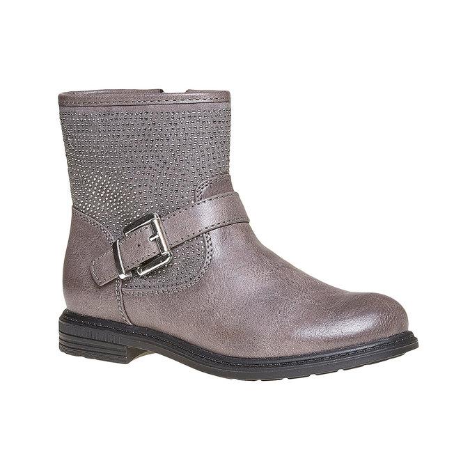 Detská členková obuv s kamienkami mini-b, šedá, 391-2249 - 13